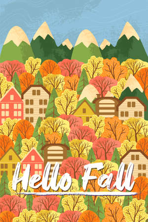 Autumn landscape with a country house and fall forest. Postcard Hello Fall. Vector illustration. Beautiful template. Can be used for banner, poster, card, postcard and print