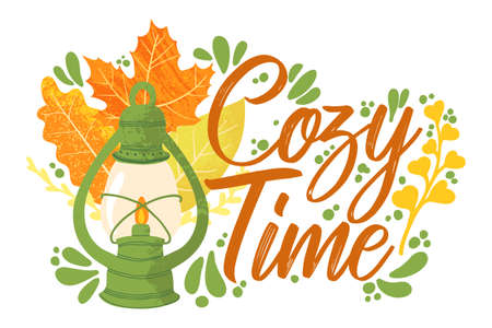 Cozy Time - Fall typography quotes with autumns elements. Vector quotes with autumns leaves, berries and lantern. Isolated on white background.