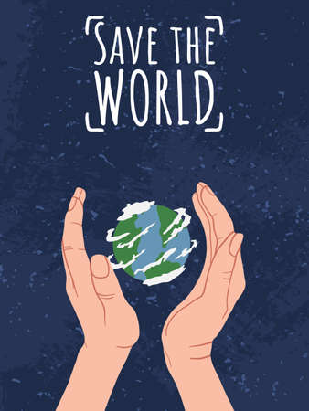 Happy Earth Day! Save the World. Hand holding Globe earth on blue background with grunge texture. Vector eco design for social poster, banner or card on the theme of saving the planet in flat style. Ilustração