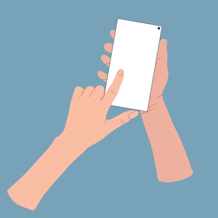 Hand wich holding and touching a smartphone with blank screen. Vector cartoons flat design. Hands holding and touching a smartphone. Set Application Template illustration of a phone.