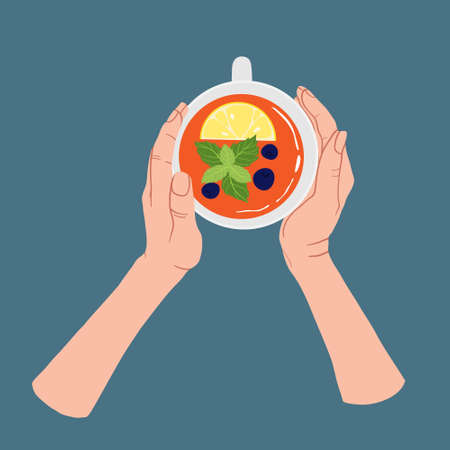 Two hands holding white cup of tea with lemon, mint and berries. Top view. Vector illustration in flat cartoons style. Tea Break, Cup Mug with hot drink. Simple flat design isolated on blue background