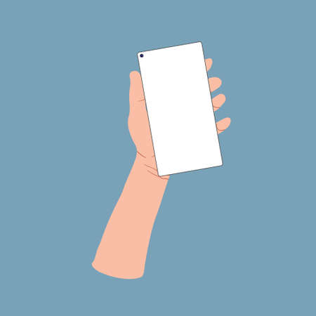 Hand wich holding smartphone with blank screen. Vector cartoons flat design. Set Application Template illustration of a phone.