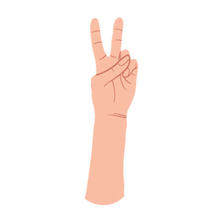 Vector illustration of Victory Hand gesture. Peace and love hand sign. Flat vector cartoons illustration. Isolated On White Background