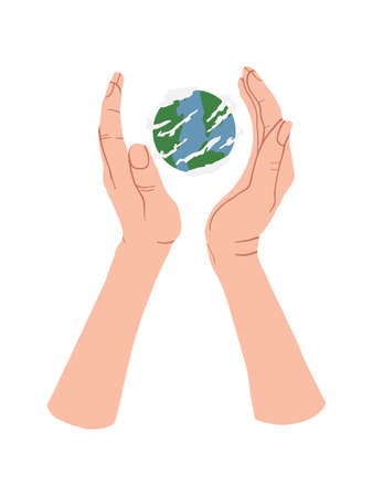 Hand holding Globe earth on white background. Vector eco design for social poster, banner or card on the theme of saving the planet in flat style.