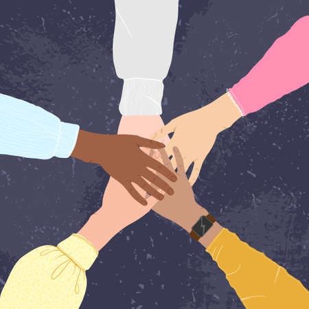 Hands of multiethnic people making unity, togetherness, support and solidarity gesture. Flat vector cartoons design. Concept of community, support, partnership, teamwork, friendship and cooperation.