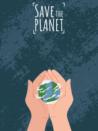 Happy Earth Day! Save the planet. Hand holding Globe earth on blue background with grunge texture. Vector eco design for social poster, banner or card on the theme of saving the planet in flat style. Ilustração