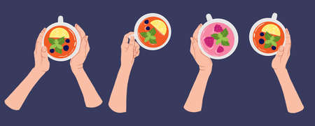 Hands in different poses holding white cup of tea with lemon, mint and berries. Top view. Vector collection in flat cartoons style. Tea Break, Cup Mug with hot drink. Isolated on blue background.