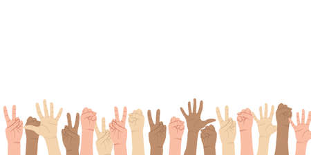 Colorful up hands set with different gestures. Different but equal and diversity skins hands up, multiethnic community. Vector border in flat cartoons style. Horizontal background with place for text.