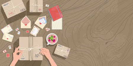 Hands and parcels on the table. Top view. Envelopes, post stamps, postcards, delivery boxes and stationery on the table. Vector horizontal background in cartoons flat style with place for text. Ilustração