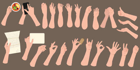 Set of hands showing different gestures isolated. Different hand sign collection. Vector flat cartoon illustration of female and male hands. Emotional expressions and body language.