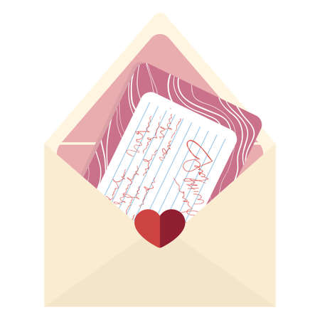 Love letter for Valentines Day. Opened envelope with hearts and pink greeting card. Modern flat cartoons style. Cute isolated illustrated element for web and print. Иллюстрация