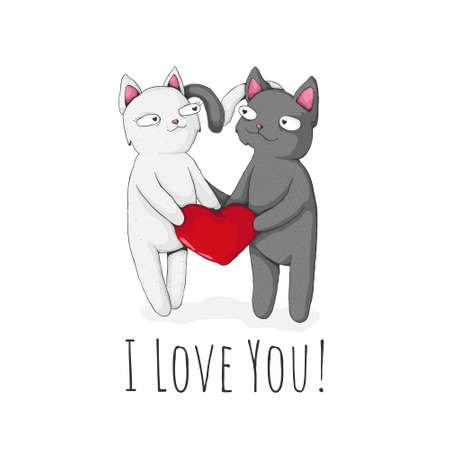 Two cute cat holding red heart with text i love you. St Valentine's Day Concept. Vector cartoon illustration. Best for print, textile or web design.