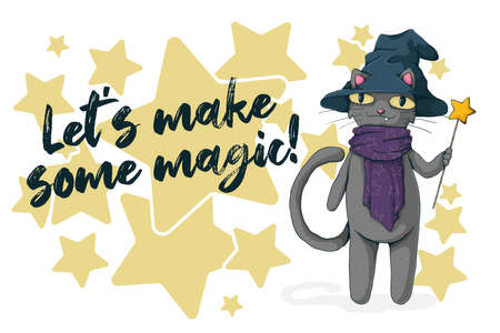 Black cat with witch hat and magic wand. Text Let's make some magic. Halloween card concept. Vector cartoon illustration. Best for print, textile and web.