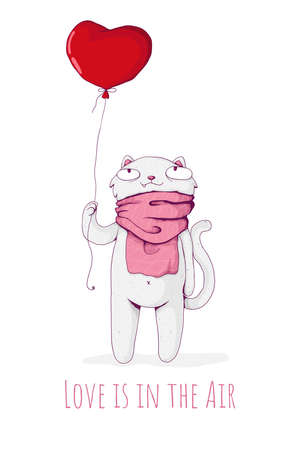 Cute white cat wearning pink scarf and hold red heart shaped balloon. Love is in the air. St Valentine's Day concept. Vecctor cartoon illustration. Best for print, textile and web.