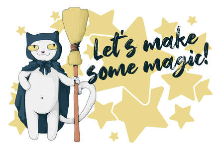 White cat with witch cloak and broom. Text Let's make some magic. Halloween card concept. Vector cartoon illustration. Best for print, textile and web.