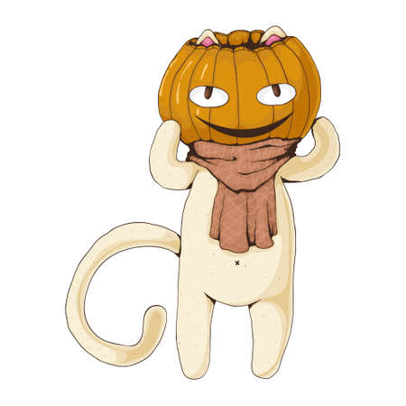 White cat with pumpkin head and cute cozy scarf. Vector cartoon illustration. Halloween concept. Card concept. Best for print, web and print design.