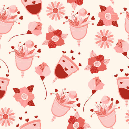 Menstrual cup with flowers and blood vector seamless pattern in flat cartoon style. Menstruation theme. Period. Feminine hygiene product. Zero waste life.