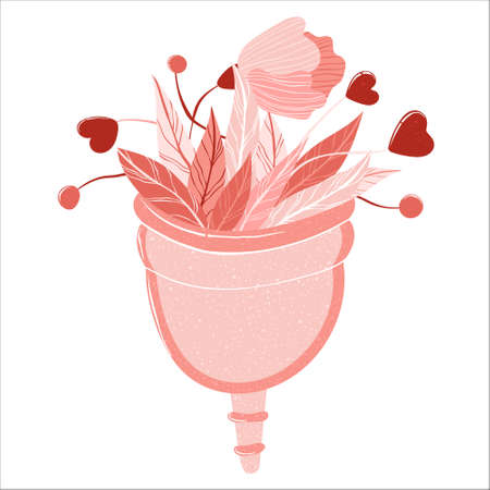 Menstrual cup with flowers and leaves. Zero waste lifestyle. Vector illustration in flat cartoon style Isolated on white background. Woman health concept. Eco protection for woman in critical days.