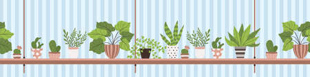 Houseplant in pot on the shelf in cartoon style. Vector seamless border with potted plant and cactus in flat design. Horizontal colorful endless background with plant in pot on rack with place for text. Vektorgrafik