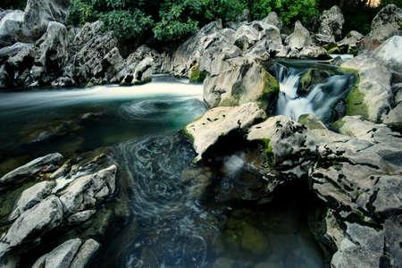 HDR on the rocky river in Cantabria Foto de archivo