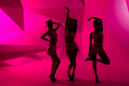 hen: silhouettes of dancing girls Stock Photo