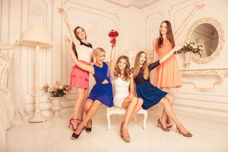 bachelorette party: hen-party! girls celebrate a bachelorette party of bride