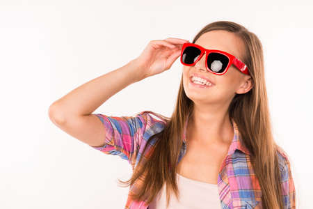 funny glasses: girl with funny glasses