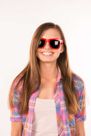 funny glasses: girl with funny glasses smiling