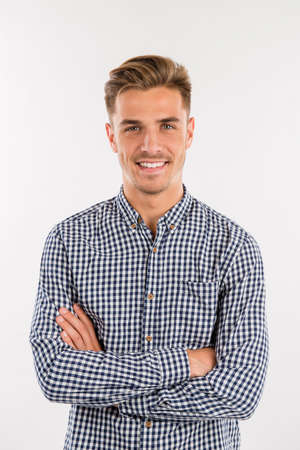checker: handsome man in shirt smiling