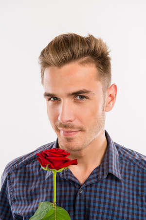 romantic man: Romantic man gives a red rose