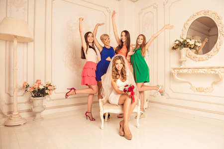 hen party: girls celebrate a bachelorette party of bride Stock Photo
