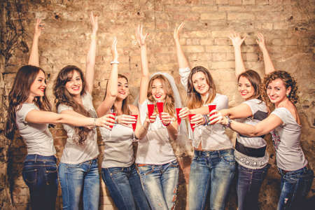 girl party: girls celebrate a bachelorette party of bride.