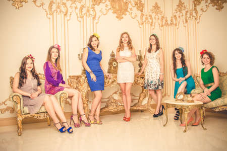 bachelorette party: girls celebrate a bachelorette party of bride.