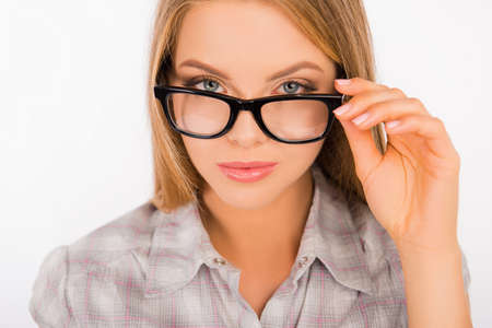 sexy photo: sexy young woman holding her glasses Stock Photo