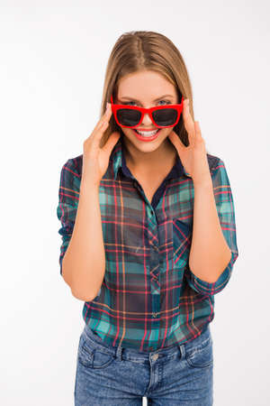 funny glasses: Cheerful girl with funny glasses