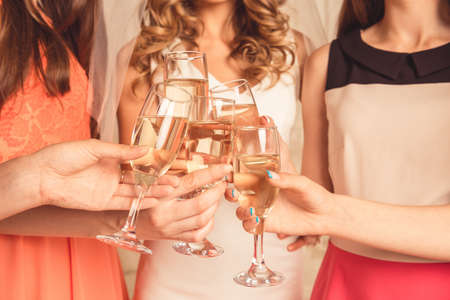 club dress: girls celebrating a bachelorette party of bride Stock Photo
