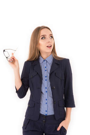 business attire teacher: Young successful woman in a business suit has idea Stock Photo