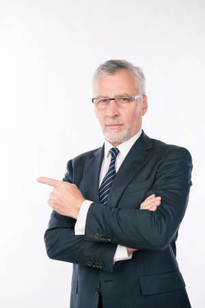 gray beard: confident intelligent  business expert with gray beard and glasses pointing aside
