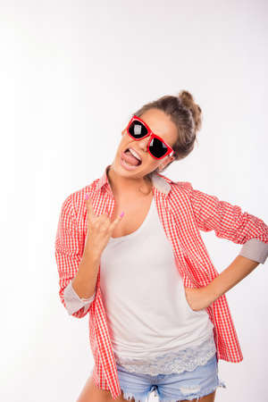 funny glasses: Cool funny sexy girl with glasses