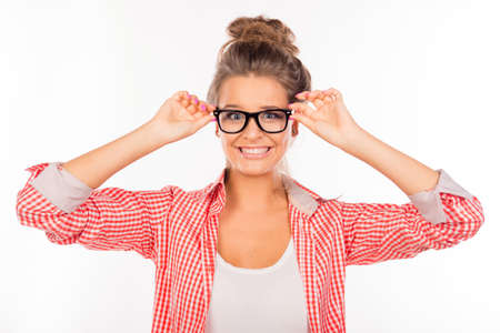 funny glasses: Funny sexy girl with glasses Stock Photo