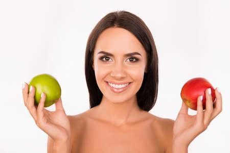 bonny: bonny girl chosing between green and red apples