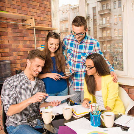 businessplan: Perspective successful team working with a business project