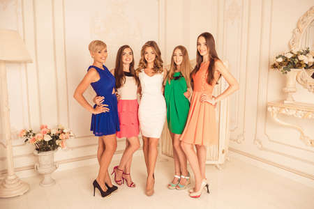 Beautiful girlfriends in dresses  celebrating hen party Stock Photo - 48823449