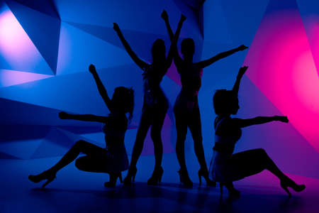 hen party: Silhouettes of four sexy posturing girls Stock Photo