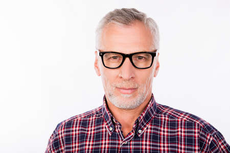 white background: Portrait of aged handsome man with glasses