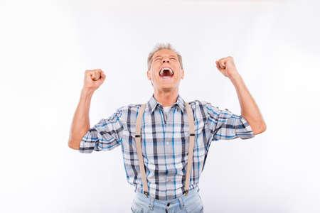 suspenders: Confident happy aged cheerful man in suspenders