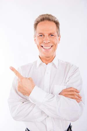 beaming: A senior man  in white shirt with beaming smile. Stock Photo