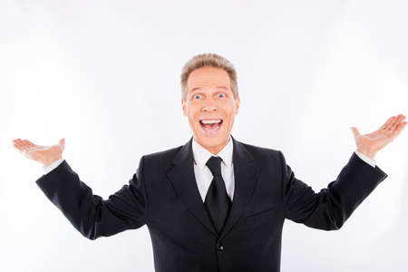 beaming: A portrait of satisfied mature man with beaming smile Stock Photo
