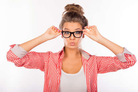 funny glasses: Cool funny sexy girl with glasses pouting