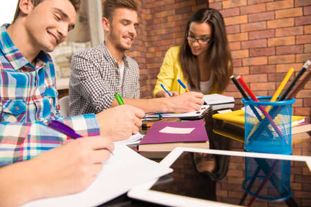 businessplan: Young group working with a business project sitting at the table